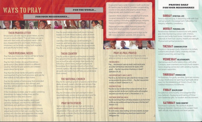 SIM pamphlet - Ways to Pray for your Missionary